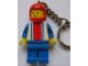Gear No: KC003  Name: Race Car Driver Vertical Lines Torso Key Chain - old metal chain with small ring, no LEGO logo on back