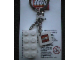 Gear No: KC030  Name: 2 x 4 Brick - White Key Chain with 2 x 2 Square Lego Logo Tile