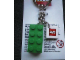 Gear No: KC033  Name: 2 x 4 Brick - Green Key Chain with 2 x 2 Square Lego Logo Tile