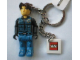 Gear No: KC046  Name: Jack Stone, Blue Pants and Vest with Black Shirt Key Chain with 2 x 2 Square Lego Logo Tile