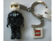 Gear No: KC048  Name: Policeman with White Helmet and Black Pants Key Chain with 2 x 2 Square Lego Logo Tile