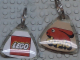 Gear No: KC093  Name: Duplo Logo / Lego Logo Reverse on 5 x 5 Clear Plastic - Triangle Shape Key Chain
