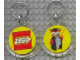 Gear No: KC095  Name: Lego Logo / Owl Figure, Yellow background, 6 x 6 Clear Plastic - Round Key Chain
