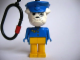 Gear No: KCF40  Name: Bulldog 10 with Post Pattern and Blue Hat Key Chain - Plastic Chain, Red LEGO Logo on Back