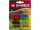 Gear No: LG51632  Name: Eraser, Ninjago Brick Eraser Set of 4 (Red, Blue, Black, Green) blister pack