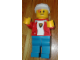 Gear No: displayfig02  Name: Display Figure 7in x 11in x 19in (red jacket, blue pants, white T-Shirt with Royal Knights logo, construction helmet)