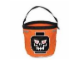 Gear No: hallobag1  Name: Storage Bucket Halloween Soft Bucket - Orange with Evil Skull Pattern