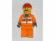 Gear No: magcty010  Name: Magnet, Minifigure City Construction Worker - Orange Zipper, Safety Stripes, Orange Arms, Orange Legs, Red Construction Helmet, Moustache and Stubble