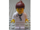 Gear No: magdoc033  Name: Magnet, Minifigure City Doctor - Lab Coat Stethoscope and Thermometer, White Legs, Reddish Brown Female Ponytail Hair