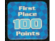 Gear No: racegame1stpl2  Name: Racers Game 1st Place Card with White 'First Place 100 Points' Pattern