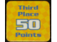 Gear No: racegame3rdpl2  Name: Racers Game 3rd Place Card with Blue 'Third Place 50 Points' Pattern