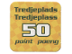 Gear No: racegame3rdpl3  Name: Racers Game 3rd Place Card with Blue 'Tredjeplads/Tredjeplass 50 point/poeng' Pattern