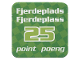 Gear No: racegame4thpl3  Name: Racers Game 4th Place Card with White 'Fjerdeplads/Fjerdeplass 25 point/poeng' Pattern