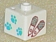 Gear No: bead004pb023  Name: Bead, Square with Paw Prints and Snowshoes Pattern