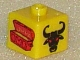 Gear No: bead004pb025  Name: Bead, Square with Castle Treasure Chest and Bull Head Pattern