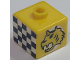 Gear No: bead004pb090  Name: Bead, Square with Tiger and Checkered Flag Pattern (from P1518)