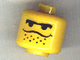 Gear No: bead006pb17  Name: Bead, Cylinder Large with Minifigure Head Pattern, Male Black Connected Eyebrow, Stubble under Dipping Mouth Line