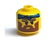 Gear No: bead006pb25  Name: Bead, Cylinder Large with Minifigure Head Pattern, Angry Brown Eyebrows, Moustache and Blue Bandana (from P1518)