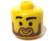 Gear No: bead006pb34  Name: Bead, Cylinder Large with Minifigure Head Pattern, Brown Beard and Black Eyebrows