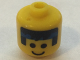 Gear No: bead006pb42  Name: Bead, Cylinder Large with Minifigure Head Pattern, Black Hair and Blue Headband