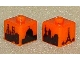 Gear No: bead004pb028  Name: Bead, Square with Four City Skylines Pattern