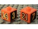 Gear No: bead004pb045  Name: Bead, Square with Numbers 3, 7, 14 and 21 Pattern