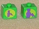 Gear No: bead004pb034  Name: Bead, Square with Joker Silhouette in Lime Circle Pattern on Opposite Sides