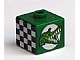 Gear No: bead004pb053  Name: Bead, Square with Alligator / Crocodile and Checkered Flag Pattern (from P1518)