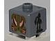 Gear No: bead004pb082  Name: Bead, Square with Bionicle Toa Pohatu and Toa Gali Pattern