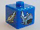 Gear No: bead004pb049  Name: Bead, Square with Shark and Swordshark Pattern