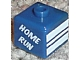 Gear No: bead004pb073  Name: Bead, Square with 'HOME RUN' , 'GRAND SLAM' and White Stripes Pattern (P1519)
