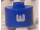 Gear No: bead029pb057  Name: Bead, Cylinder, Flat Edge with White 'E' Pattern