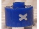 Gear No: bead029pb076  Name: Bead, Cylinder, Flat Edge with White 'X' Pattern