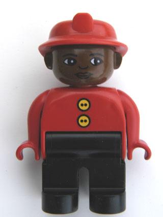 1 x Lego Duplo Figure Man Fireman Pants Jacket Black Suspenders Yellow Helmet