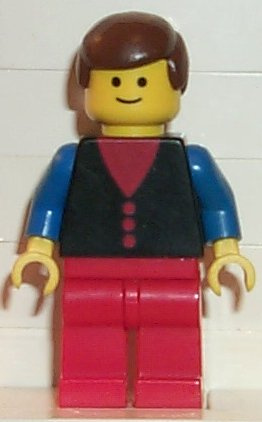 Lego Construction Guy Blue Shirt 6 Buttons Red Hat but011 6390 10041