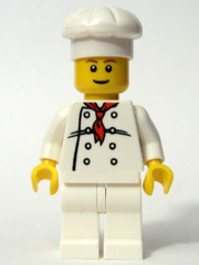 LEGO 10 NEW WHITE CHEF MINIFIGURE TORSO WITH RD HANDKERCHIEF BUTTONS PIECES