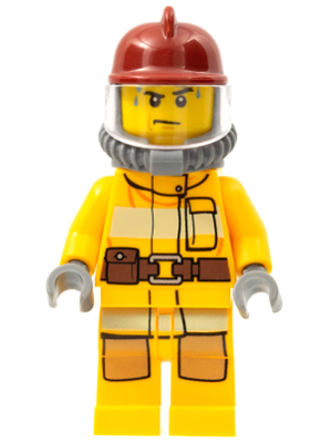 Lego-minifigures-fire-bright light orange suit dark red helmet cty0302