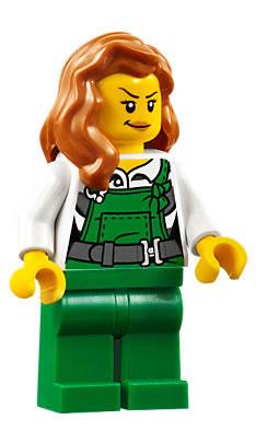 authentic LEGO minifigure Construction Female cty0700 town city orange ponytail
