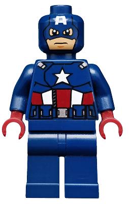 Lego Minifig Heads x 4 Dark Blue Captain America Heads