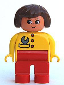 Lego 6453pb042 Duplo Figure Child Type 2 Girl Red Legs Yellow Sweater Black Hair