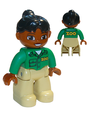 *NEW* Lego DUPLO Female BROWN Head /& Hair ORANGE Legs GREEN Top Pockets Buttons