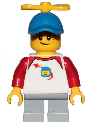 Boy, Freckles, Classic Space Shirt with Red Sleeves, Light Bluish Gray Short Legs, Blue Cap with Tiny Yellow Propeller (BrickLink)