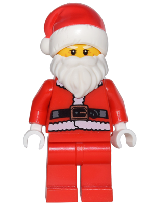 Fur Lined Jacket with Button Lego city minifig Santa Red Legs Glasses NEW