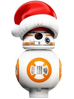 Figurka LEGO BB-8 s vánoční čepicí zepředu