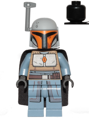 Figurka LEGO Bojovnice Mandalorianů šedá zepředu