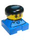 Minifig No: 2327pb01  Name: Duplo 2 x 2 x 2 Figure Brick, Blue Base, Striped Overalls, Black Hair, Large Eyes, Freckles on Nose