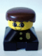Minifig No: 2327pb02  Name: Duplo 2 x 2 x 2 Figure Brick, Black Base with Police Pattern, Yellow Head, Black Male Hair