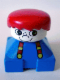 Minifig No: 2327pb05  Name: Duplo 2 x 2 x 2 Figure Brick, Blue Base with Suspenders, White Head with Freckles on Nose, Red Male Hair