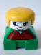 Minifig No: 2327pb07  Name: Duplo 2 x 2 x 2 Figure Brick, Green Base with Rust Overalls and Wrench Pattern, White Head with Eyelashes, Yellow Female Hair