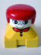 Minifig No: 2327pb10  Name: Duplo 2 x 2 x 2 Figure Brick, Yellow Base with Red Collar and Red Heart Buttons, White Head with Eyelashes, Red Female Hair